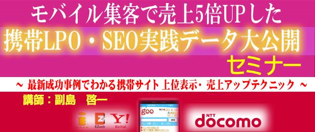 『モバイル集客で売上5倍UPした携帯LPO・SEO実践データ大公開』セミナー